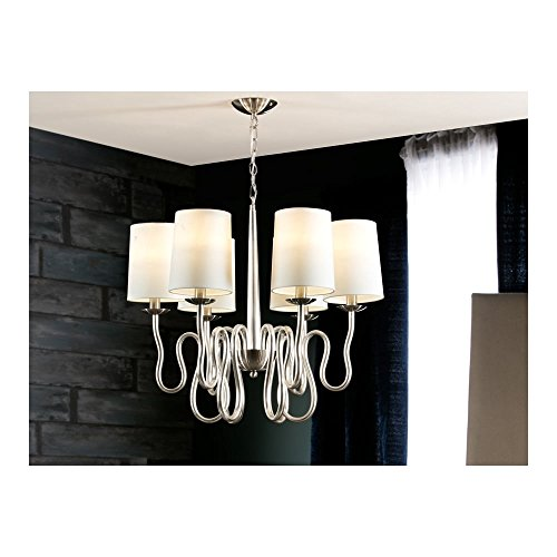 Schuller Spain 513646I4L Traditional Silver Hanging Ceiling Light Pendant shade pendant light White 6 Light Dining Room, Living Room LED | ideas4lighting by Schuller