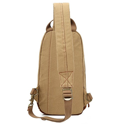 Khaki Bag Simple Chest Retro Outdoor Shopping Bag Messenger Shoulder Bag Comfortable Canvas Zipper Color qZ7awxng6
