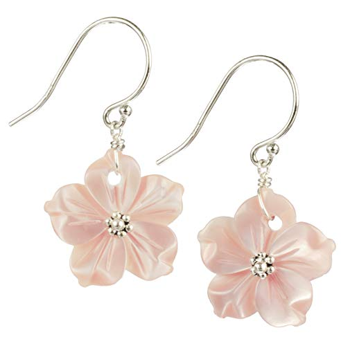 Pink Mother of Pearl Shell Flower Sterling Silver Dangle Earrings ()