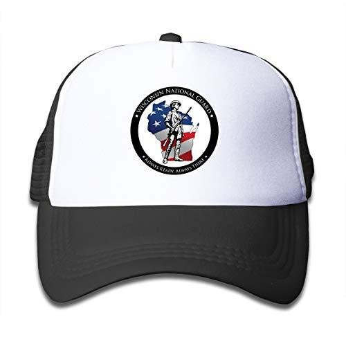 (Ougou Wisconsin National Guard Members Supporting Boys&Girls 4-13yr Kids Trucker Hats Toddler Baseball Mesh Cap Black One Size)