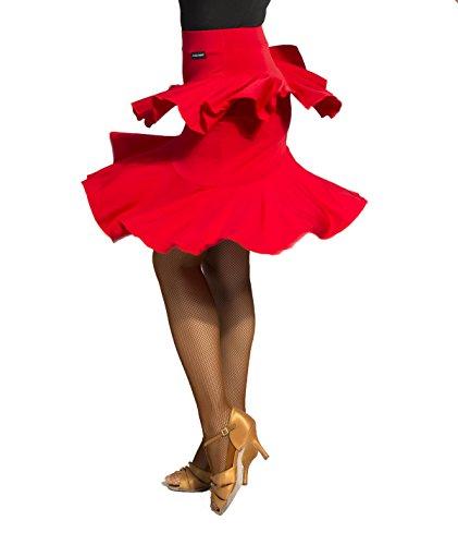 SCGGINTTANZ G2046 Professionnel de Danse de Salon Latine la Jupe de Style Feuille de Lotus (SBS)red