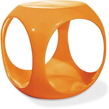 Molded Cube Occasional End Table, Looks Stylish with Any Modern Style with the See-Through Design and High Gloss Finish, Features Ample Internal Storage, Orange + Expert Guide