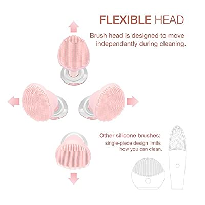 Facial Cleansing Brush, multifun Food Grade Silicone Face Brush for All Skin Types, Waterproof Electric Deep Cleansing Brush, Gentle Exfoliating and Removing Blackhead, Massaging