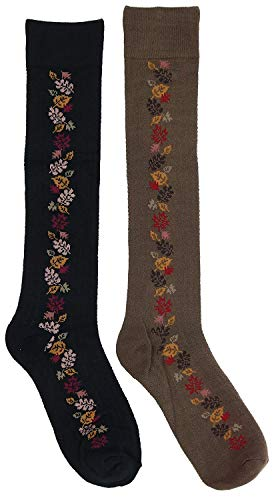 Greenology Women's 80% Bamboo Autumn Fall Leaves Knee High Socks (2Pr) (Brown, Black) One Size