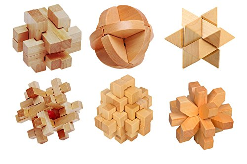 Wooden Burr Puzzles Interlock Blocks Brain Teaser Assembly & Disentanglement Toys for Kids and Adults Set of 6 with Instruction (88cm, (Interlock Assembly)