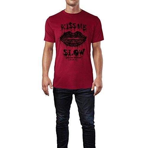 SINUS ART® Kussmund – Kiss Me Slow Or Lose Me Fast Herren T-Shirts in Independence Rot Fun Shirt mit tollen Aufdruck