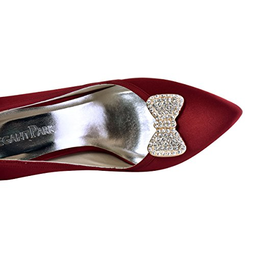 ElegantPark Schleife mit Perlen-Strass Design Geschenk Flache Pumps Damen Schuhe Schuhclips 2 Stück Strass Gold
