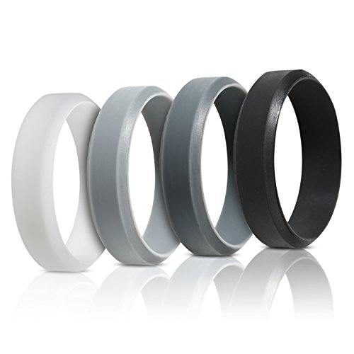 Silcone Skin (Silicone Ring Wedding Band For Men - 4 Pack - Beveled Design)
