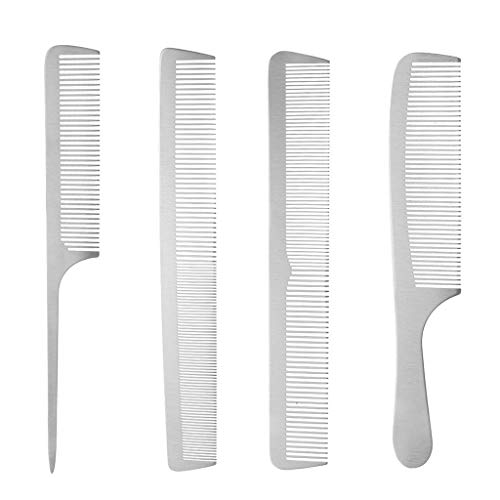 4pcs Professional Barber Hairdressing Stainless Steel Hair Styling Comb Set ()