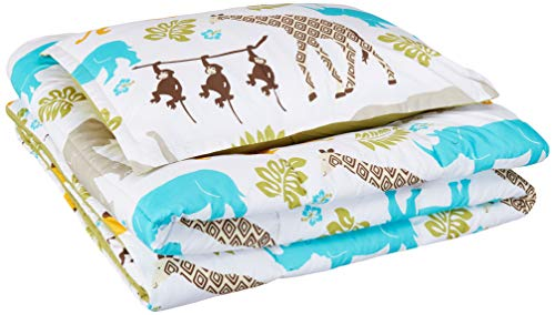 AmazonBasics Easy-Wash Microfiber Kid's Comforter and Pillow Sham Set - Twin, Multi-Color Zoo Animals (Circo Toddler Bedding Set)