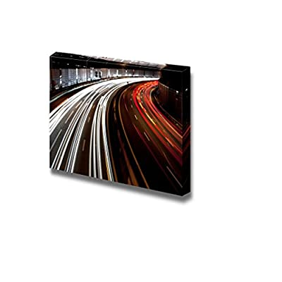 Canvas Prints Wall Art - Long Exposure of Traffic on Highway at Night | Modern Wall Decor/Home Decoration Stretched Gallery Canvas Wrap Giclee Print & Ready to Hang - 16