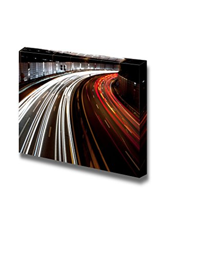 Long Exposure of Traffic on Highway at Night Wall Decor