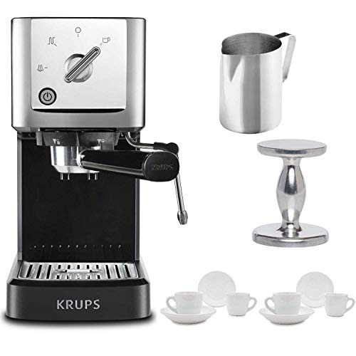 - KRUPS XP344C51 Calvi Steam And Pump Compact Espresso Machine, Black Includes Stainless Steel Frothing Pitcher, Espresso Handheld Tamper and Two Ceramic Cups and Saucers