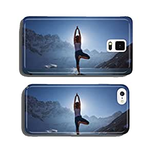 Young woman is practicing yoga at mountain lake cell phone cover case iPhone6 Plus