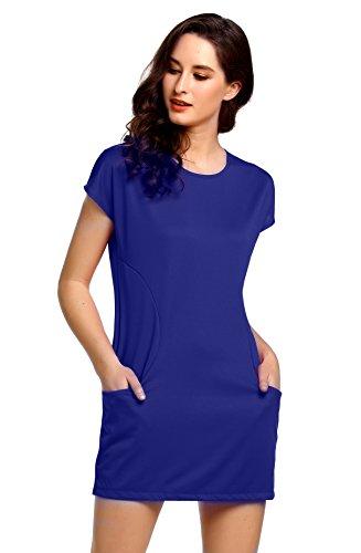Amoretu Cap Été Des Femmes De Dégagement Manches Mini Robe Casual T-shirt Avec Des Poches Bleu