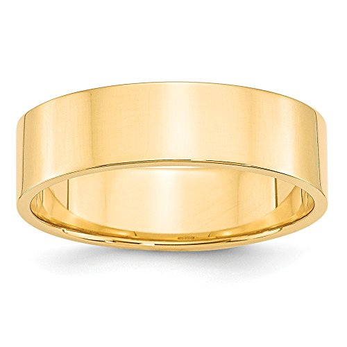 JewelrySuperMart Collection 14k Yellow Gold 6mm Plain Flat Classic Wedding Band - Size 13.5 ()