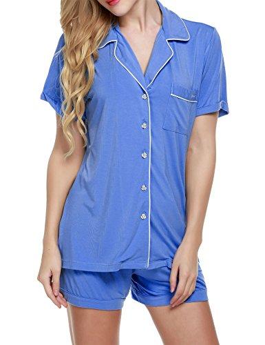 (Ekouaer Short Sleeve Button Down Shirts Two Piece Sleepwear (Light Blue,XS))
