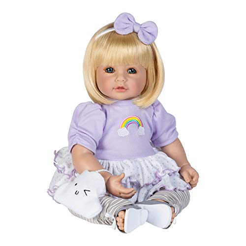 - Adora ToddlerTime Doll Over The Rainbow 20 inch Toddler Baby Doll in CuddleMe Vinyl, Realistic Lifelike Weighted Body, Blonde Hair & Blue Eyes