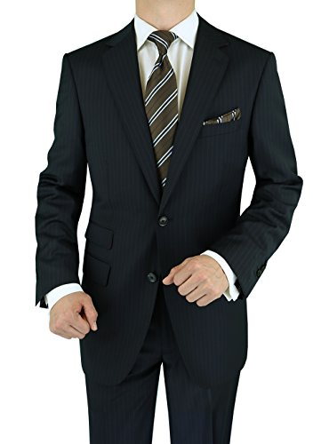 Luciano Natazzi Men's Ticket Pocket Cashmere Wool Black Stripe Suit (42 Regular US / 52 Regular EU)