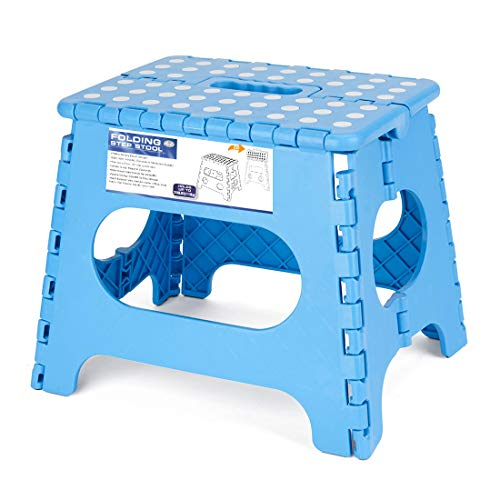 Acko Sky Blue 11 Inches Non Slip Folding Step Stool for Kids and Adults with Handle, Holds up to 250 LBS (Sky Blue) by Acko