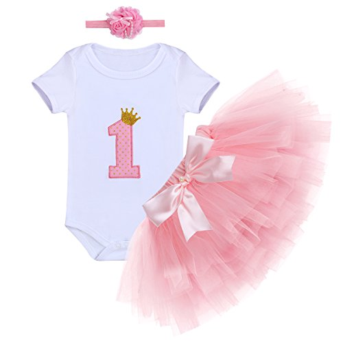 - Baby Girls First Birthday Clothes One-Piece Bodysuit 1st Crown Romper+Ruffle Tulle Skirt+Bowknot Headband 3PCS Set Toddler Infant Smash Cake Outfits for Casual Photo Shoot Pink Age 1 Year Old