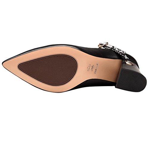 9e6c01214fe0ae ... AIYOUMEI Blockabsatz High Heels Leder Pumps mit Knöchelriemchen und 7cm  Absatz Elegant Schuhe Damen Schwarz ...