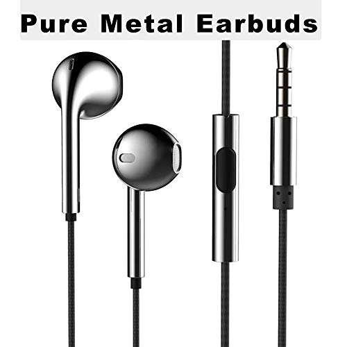 in-Ear Earbuds,FITROM HiFi 4D Stereo Sound [Metal Earbuds] [Stereo Headphones][Noise Isolating] Wired Braided Headphones with Mic and Switch The Music for iPhone and More Android Cell Phone-Deep Gray