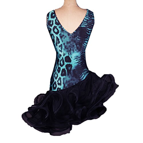 En Dancewear Imprimé Léopard V Performance C Wqwlf Femme Tenue Sans culture xl Latine Auto Compétition Pour Robe De Manches Col Professionnelle Danse ZpZgntqw