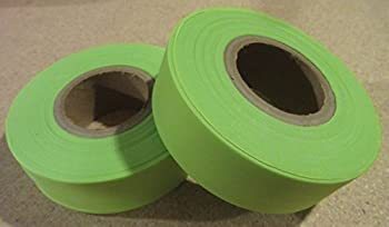 1 Roll Fluorescent Flagging Tape Non-Adhesive Plastic Ribbon 150 feet. 4mil thick. 1 inch wide. (Lime)