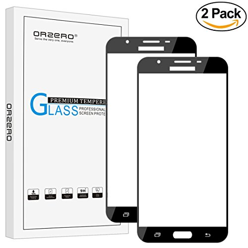 [2 Pack]Orzero For Samsung Galaxy J7 V / J7 Perx / J7 2017 / J7 Sky Pro / Halo [ Full Cover ] Tempered Glass Screen Protector , 2.5D Arc Edges HD Anti-Scratch [ Lifetime Replacement Warranty ]-Black