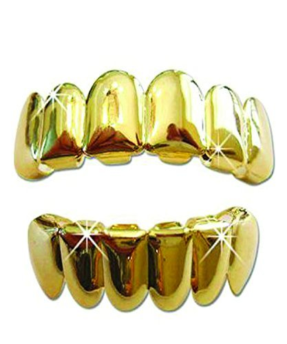 Gold Tone Hip Hop Teeth Grillz Top & Bottom Grill Set by Bywabee ...]()