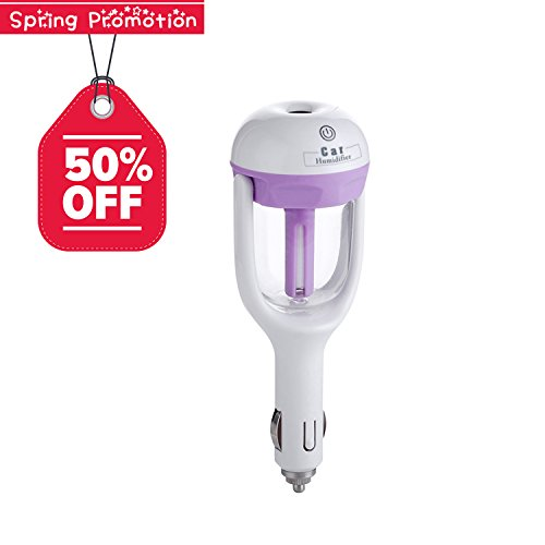 Car Humidifier, ICOCO Portable Auto Mini Humidifier, Air Diffuser/Humidifier/Purifier (Not to Add Essential Oils) (Purple)