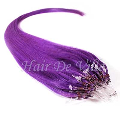 "25 Strands 22"" Long Micro Loop Ring Beads I Tip Human Hair Extensions Purple Color 0.8g Each Strand"