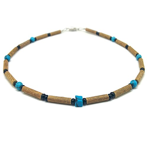 Pure Hazelwood Teething Necklace Turquoise and Black for Baby/Child B11 (13'' / 33 CM) - Date Turquoise Necklace