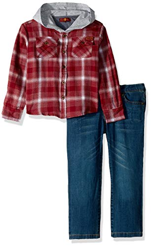 7 For All Mankind Kids Boys' Toddler Denim Shirt and Twill Jean Set, Merlot Plaid, 2T 7 For All Mankind Shirts