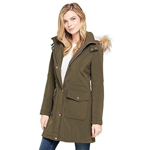 Leather Lined Parka - Wilsons Leather Womens Web Buster Ellen Tracy Softshell Parka W/Fleece Lined Ho