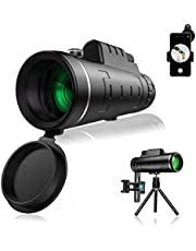 Monocular Telescope High Power, 12x50 HD Monocular Telescope, High Power Mini Black Telescope, HD Cell Phone Lens, with Smartphone Adaptor & Tripod, Suitable for Hiking, Camping, Sightseeing