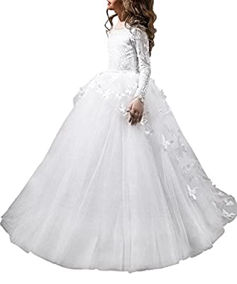 Lovely First Communion Dress Long Sleeves Pink Prom Gown