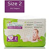 Happy Little Camper Ultra Absorbent Hypoallergenic Natural Diapers, Size 2 (12-18 lbs), 252 Count, Monthly Supply Bulk Pack