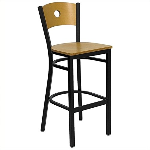 0.625' Natural (Flash Furniture HERCULES Series Black Circle Back Metal Restaurant Barstool - Natural Wood Back & Seat)