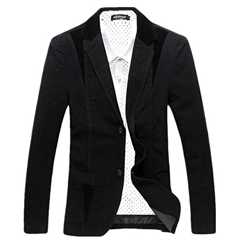 Pishon Men's Casual Blazer Cotton Lightweight Notched Lapel Two Button Blazer Jacket, Black, Tag Size XXXXXL=US Size XL (Cotton Plaid Blazer)
