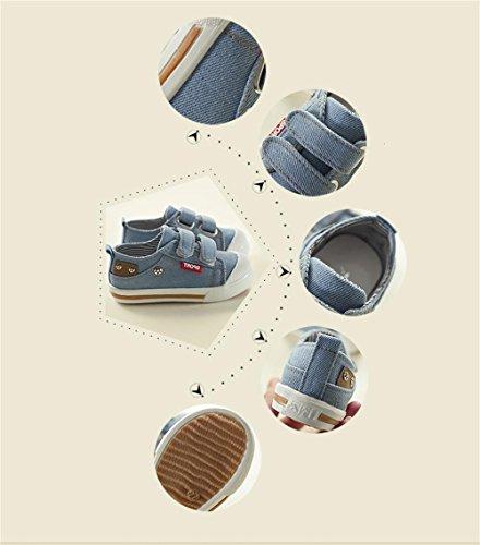 ALUK- Zapatos de los niños zapatos de lona de los niños ocasionales coreanos de la lona baja para ayudar a los zapatos mágicos de la tarjeta de los pegatinas ( Color : Azul claro , Tamaño : 21 ) Azul claro