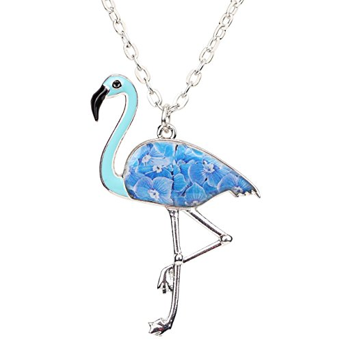 Bonsny Enamel Alloy Flamingo Bird Pendant Necklace Chain Animal Jewelry for Women Girls Charm Gift (Blue)