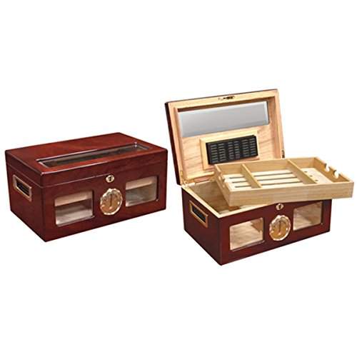 Humidor Finish High Gloss (Prestige Import Group Valencia Glass Top Cigar Humidor - Capacity: 120 Cigars - Finish: High Lacquer)
