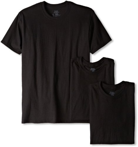Hanes Ultimate Men's 3-Pack FreshIQ Crew Neck Tee, Black, Large ()