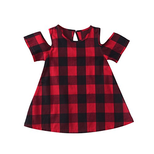 Dress Modern Tartan - Enhill Kids Baby Toddler Girl Off Shoulder Plaids Checked Party Princess Dresses (Red, 4-5 Years)