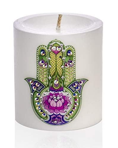 Sam & Wishbone Candle Home - Decor - Gift - Luxury White Unscented Hand Made Spiritual Meditation Pillar Candle - Lotus Hamsa (3 x 3 inch)