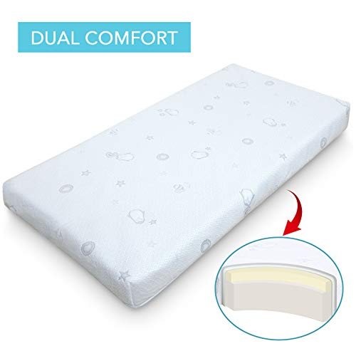 Marine Moon Crib Mattress and Toddler Mattress Memory Foam, Double Sided Baby Mattress for Crib/Toddler Bed with Waterproof Cover, Standard Size, 4 - Crib Memory Foam For