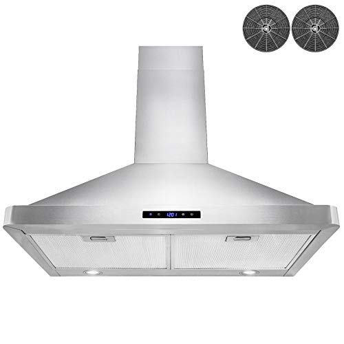 AKDY Wall Mount Range Hood Stainless-Steel Hood Fan for Kitchen - 3 Speed Professional Quiet Motor - Premium Touch Control Panel - Modern Design - LED light & Carbon Filters (30 in)