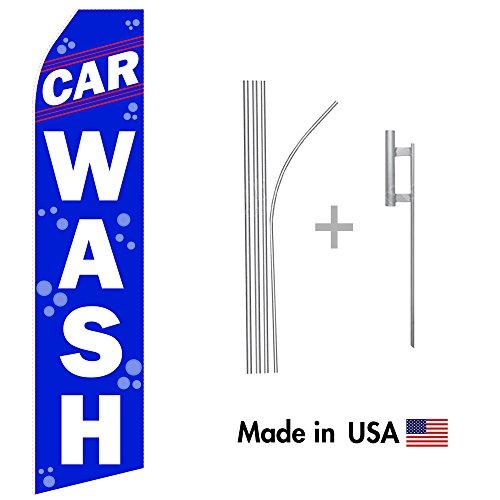 Blue Car Wash Econo Stock Flag